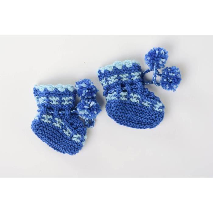Chaussons bébé tricotés bleus originaux -56458621