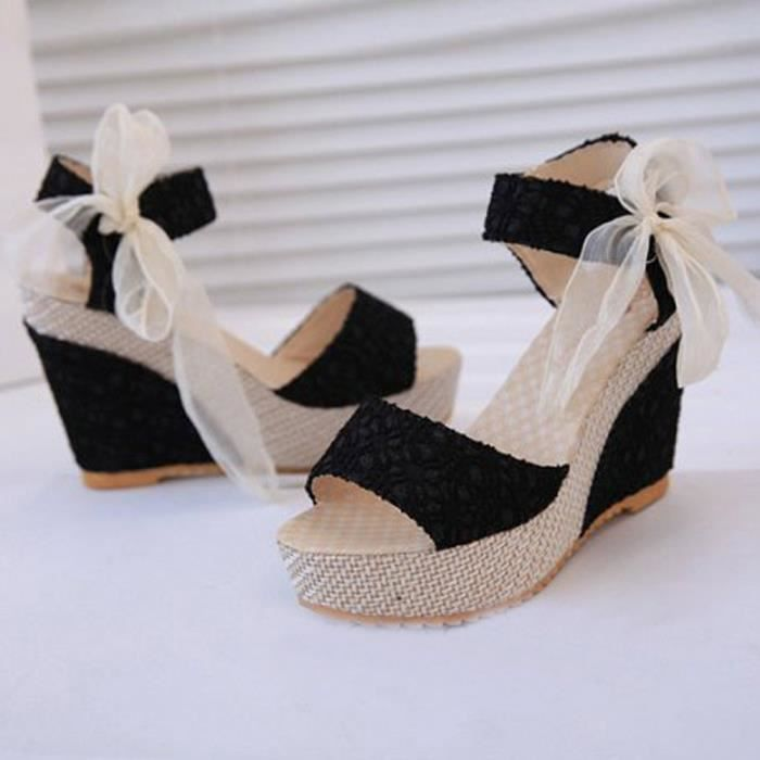 D'été Femmes Mode Mocassinsnoir Des Sandales Tongs Avec Slope qaRpf