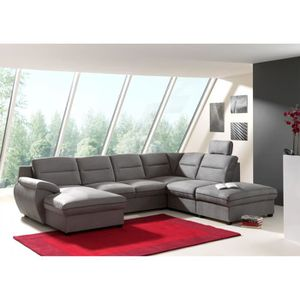 CANAPÉ - SOFA - DIVAN Canapé d'angle panoramique convertible tissu gris