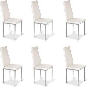 CHAISE Lot de 6 chaises blanches - Lena
