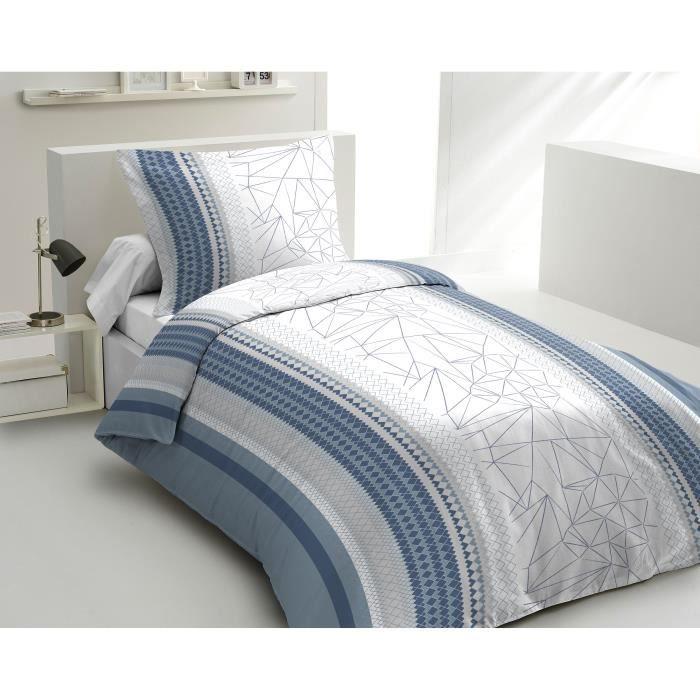 Matière : 100% coton tissé serré 54 fils - Dimensons : 140x200/ 65x65 cm - Coloris : bleu, blanc et grisPARURE DE COUETTE