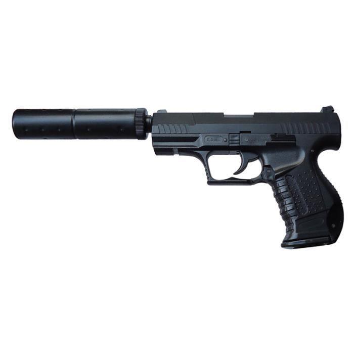 pistolet a billes 99 noir avec silencieux spring prix pas cher cdiscount. Black Bedroom Furniture Sets. Home Design Ideas