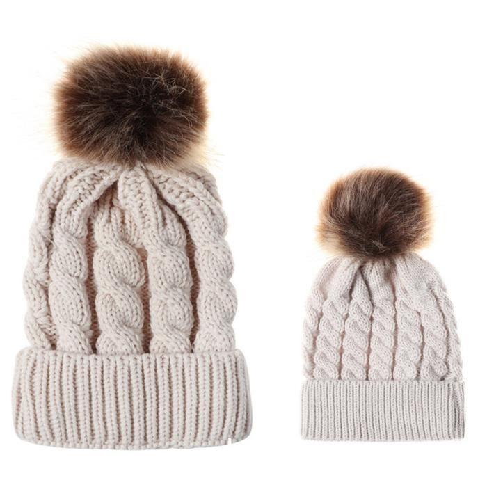 e8fe6b45ebaca Maman et bébé tricot laine ourlet chapeau garder au chaud bonnet de ...