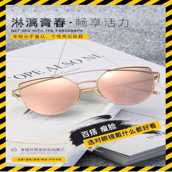 Lunettes de soleil femme Fashion Métal Cadre sunglasses avec Grande Cadre  Rétro Golden Rose 144e96d0ea64