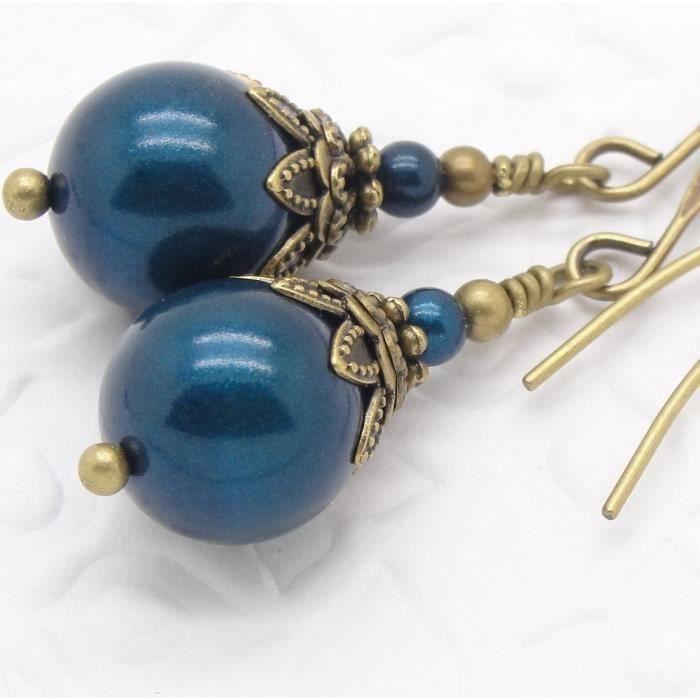 Femmes Essence Bleu Swarovski Boucles doreilles perle Simulé E2AUH