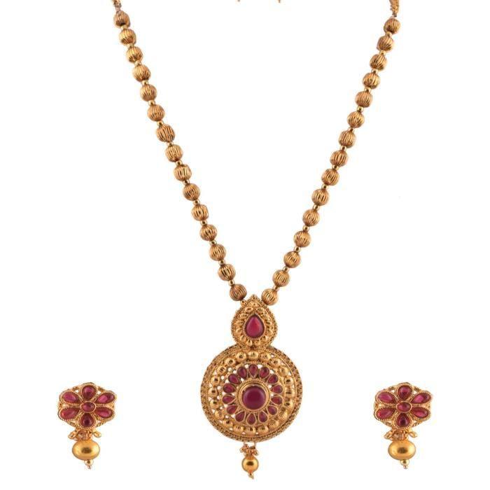 Plaqué or féminin Ensemble traditionnel collier avec pierres roses pour (6422) SDY4V