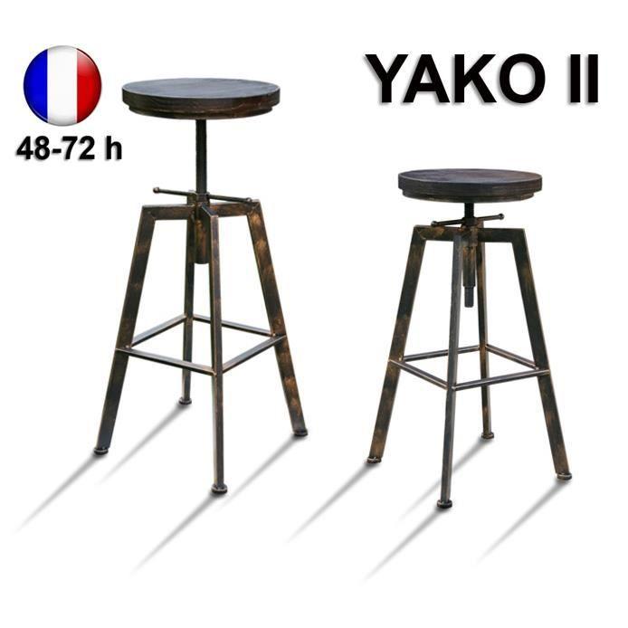 Tabouret De Bar Réglable Yako 2 Design Luxe Loft Vintage Industriel