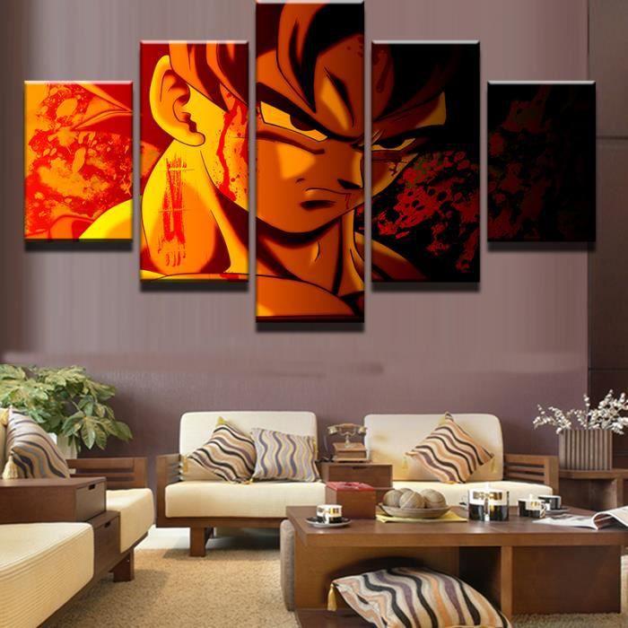 Parfait 5 Panneaux Imprimés Canvas Peinture Moderne Dragon Balls Affiches Pour Salon(sans  Armature Sans étirement)