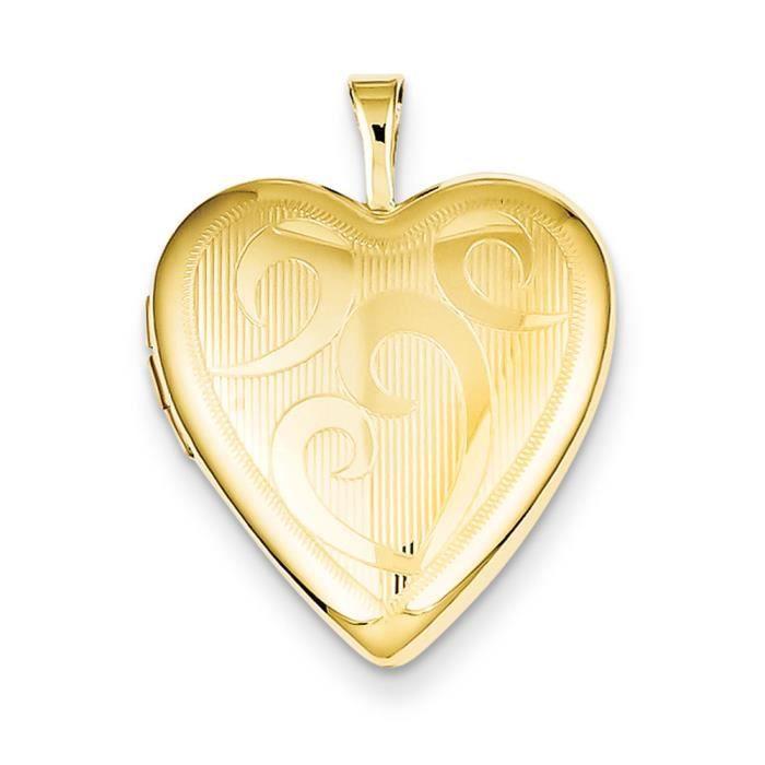 En argent Sterling plaqué or 20 mm-Médaillon en forme de cœur