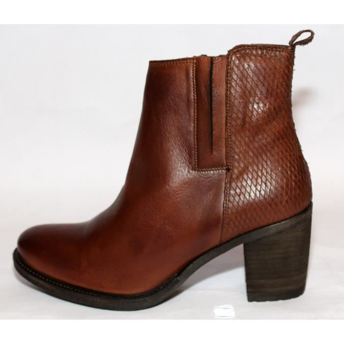 BOTTINES BASSES CUIR MARRON CHAUSSURESMODE FEMME T 38 NEUVES