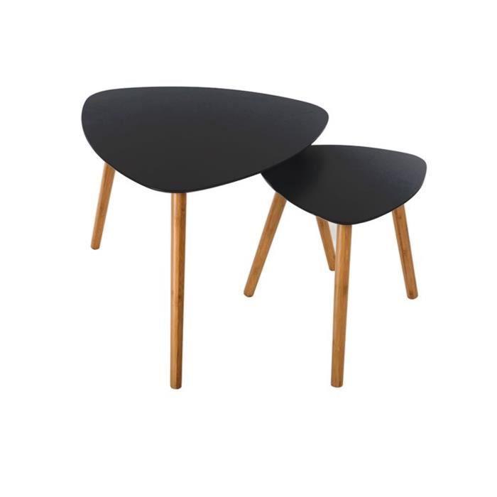 lot de 2 table basse mileo noire - achat / vente table gigogne lot