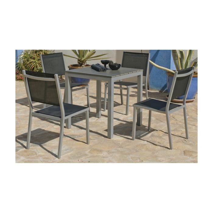 Ensemble jardin aluminium gris argent et polywood 4 fauteuils ...