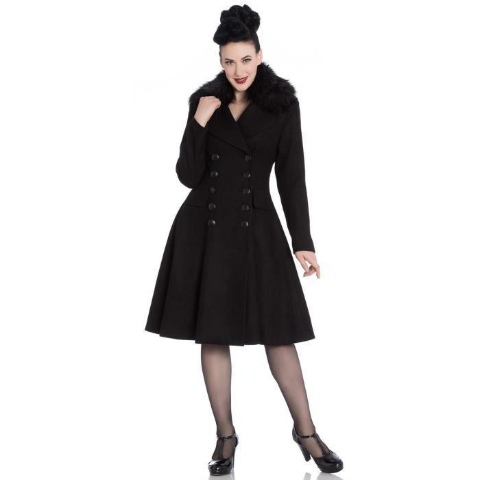 Manteau noir avec fourrure