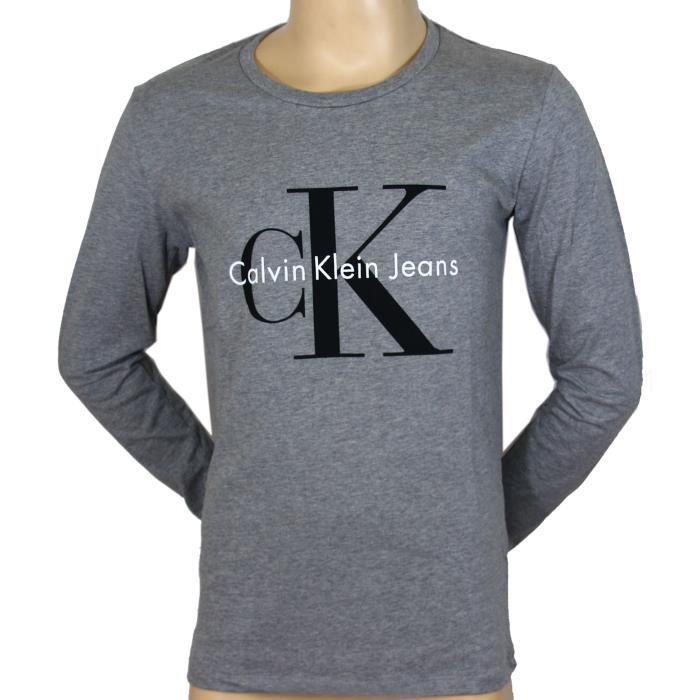 8cd3235651c12 CALVIN KLEIN JEANS t-shirt manches longues homme J3IJ30 gris Gris ...