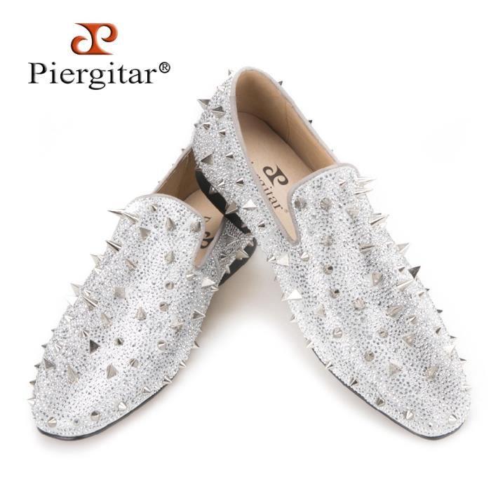 Glitter d'argent ou le Mocassins diamants Designer Handcrafted banquet Spikes en Marque et pour cuir Gold Luxury Convient et hommes qH7w71A