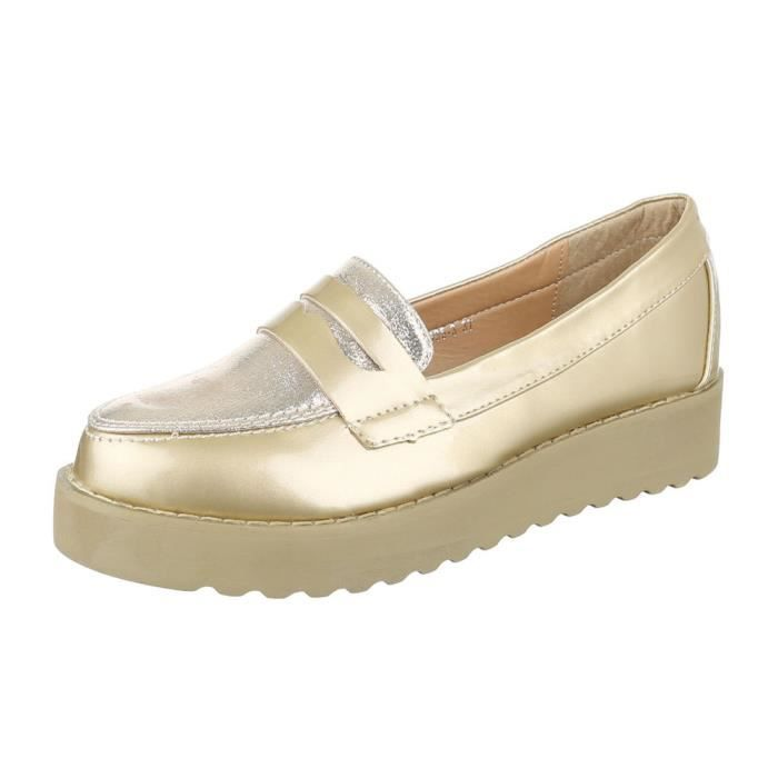 femme chaussure basse chaussure mocassin or