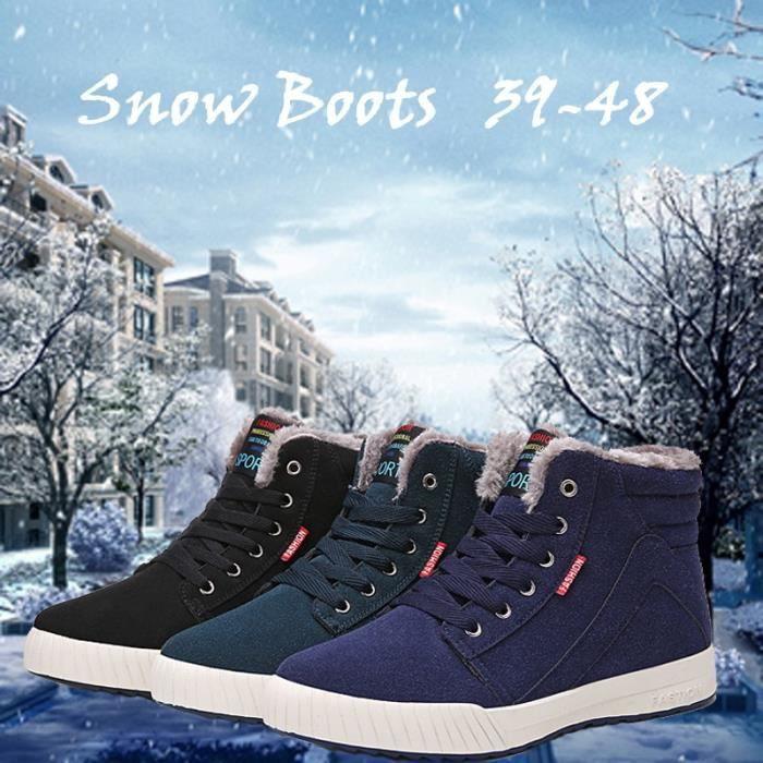 Botte Homme Haute Qualité Martin d'hiver de neige garder au chaud d'extérieurbleu foncé taille48