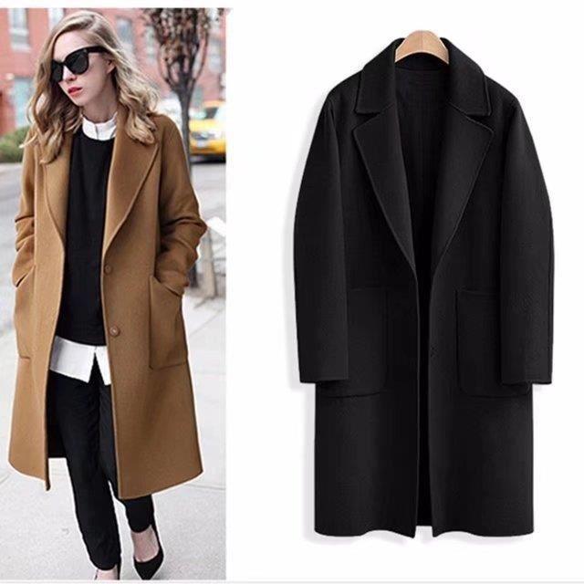 regard détaillé e580e 614b6 Mode Femmes En Laine Manteau Grande Taille Solide Couleur Femmes Automne  Hiver Manteau Poche Conception Moyen Long Manteau