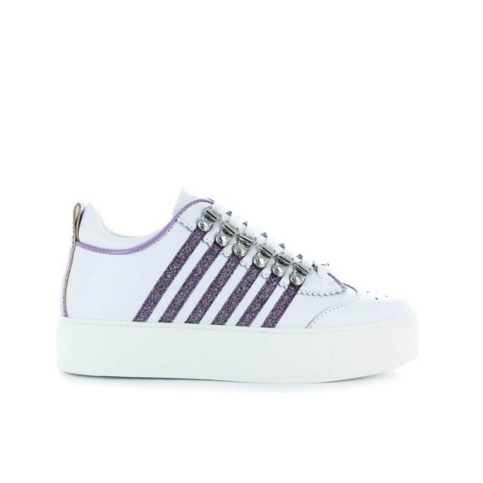 Dsquared2 Bianc Paillettes Blanc Violet Sole Baskets 251 Maxi YvqORqB7