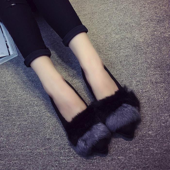 Gris Flip Slipper Flop Chaussures Sliders Simples En Fluffy Slip Fausse Fourrure On Femmes Plat qzw1UOT