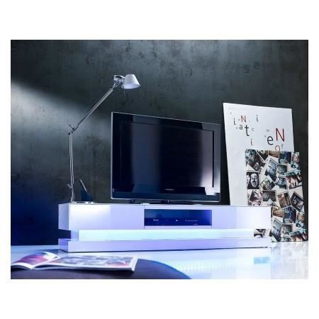 meuble tv led blanc laqu 2 tiroirs enzo achat vente. Black Bedroom Furniture Sets. Home Design Ideas