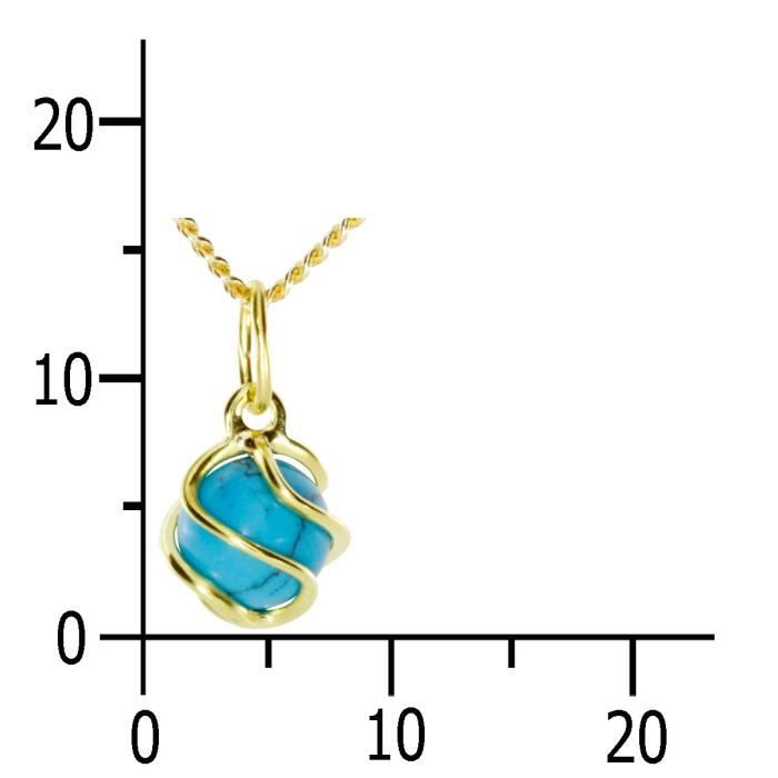 7350100013401 - Pendentif Femme - Or Jaune 8 Cts 333-1000 - Turquoise Z8P0R