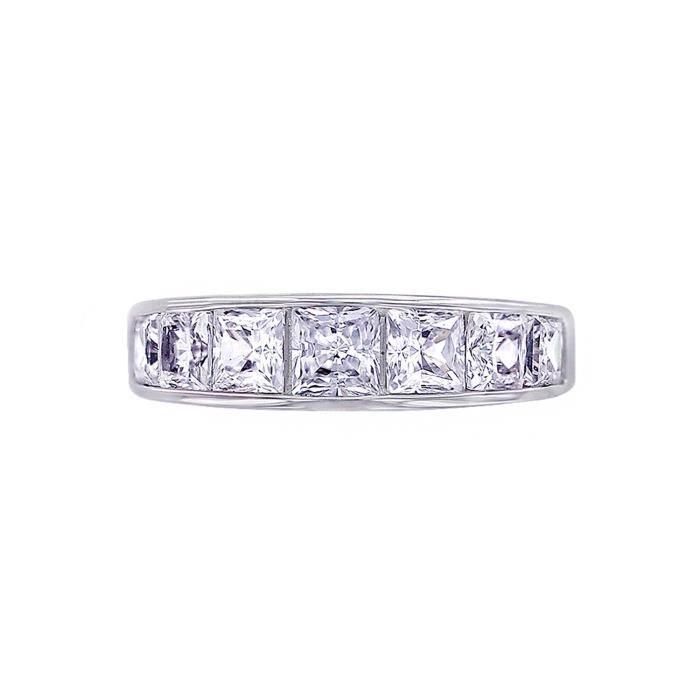 Jewel Panda Les diamants platine en argent sterling plaqué Simulations Princesse Bague, Taille 8