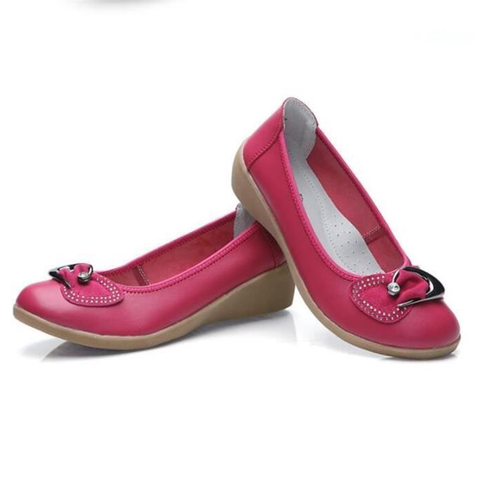 chaussures Ballerine Femme Cuir Durable Comfortable Chaussure FXG-XZ047Rouge36