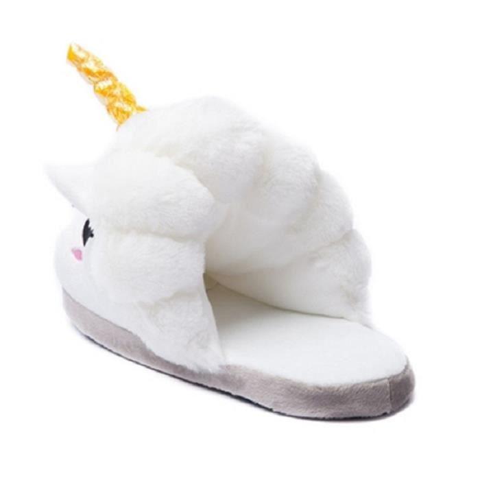 Chaussons Enfant Licorne Pantoufles en Peluche Hiver Domicile en coton chaud Drôle mignon Cartoon Animal Noël pantoufle FXG-XZ153 hti6Z704c