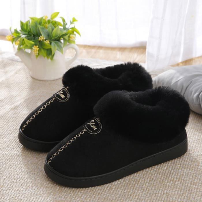 Chaude Chaussures Bottes 8547 slip Couple D'hiver Wedge Neige De y forme Plate Non Noir Maison x8PnnCS