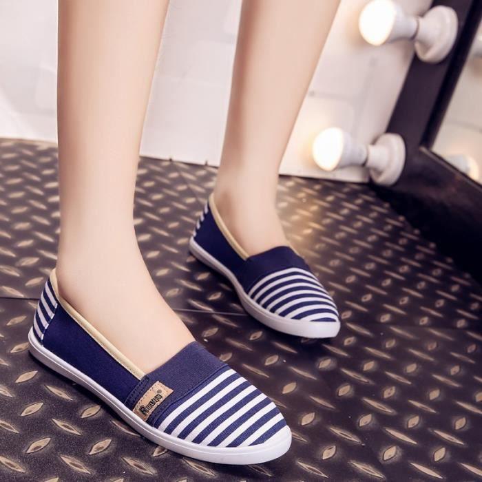 Toile on Respirables Chaussures Plates Les bleu Pour Mode été Femmes 7 Slip Féminine De xwXqn1T610