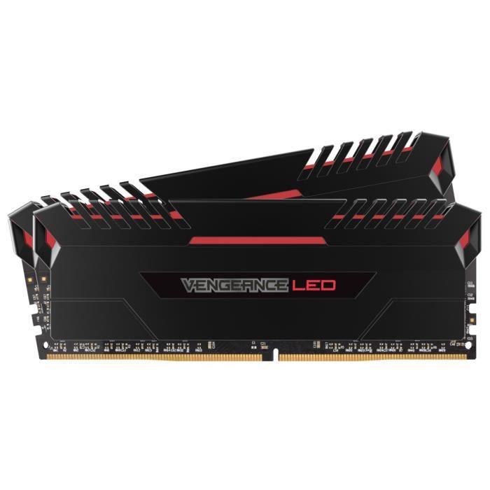 Corsair Mémoire PC Vengeance LED DDR4 - Kit 16Go (2 x 8Go) - 2666MHz - C16 - LED Rouge CMU16GX4M2A2666C16R