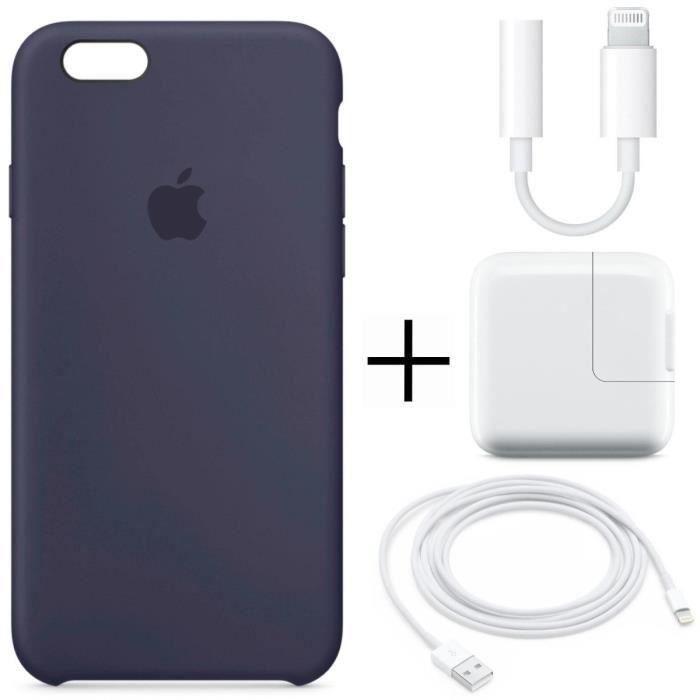 Pack Silicone Iphone 6 et 6 S : Coque Silicone Bleu Nuit + Cable adaptateur + Adaptateur secteur + Câble Lightning