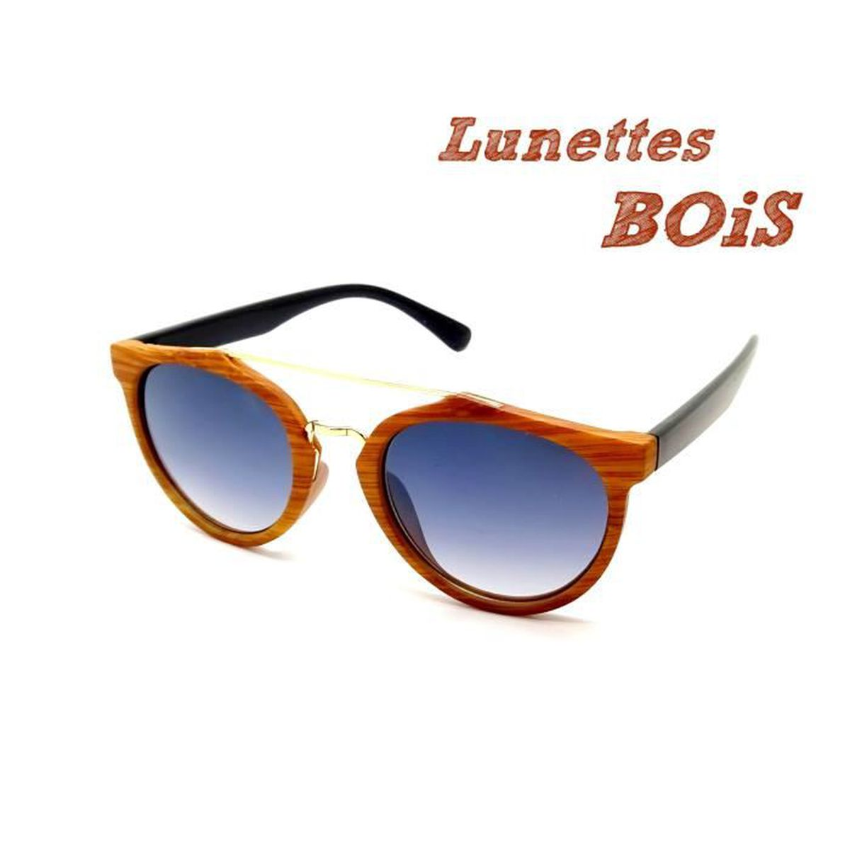 436a25be46fa0a LUNETTES SOLEIL BOIS HOMME FEMME PANTOS ROND PILOTE AVIATOR BAMBOU ...