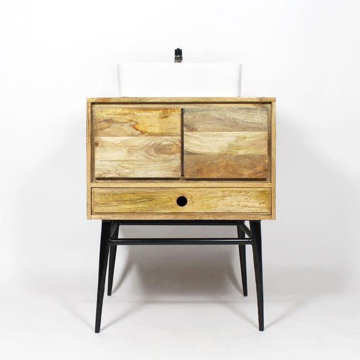 meuble salle de bain bois massif et m tal style scandinave pa07 55 bois achat vente meuble. Black Bedroom Furniture Sets. Home Design Ideas