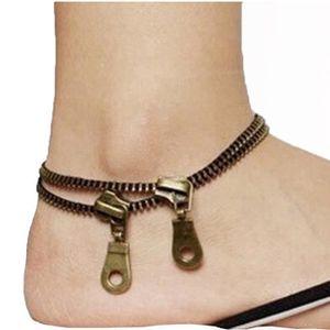 BRACELET - GOURMETTE Bijoux en métal unique Zipper design Bracelet Ankl