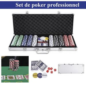 MALLETTE MULTI-JEUX Malette de poker malette 500 jetons 11.5g cartes p