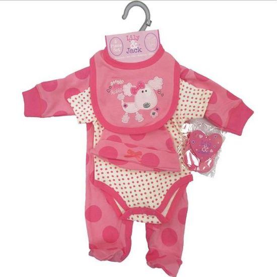 9251532220078 Ensemble cadeau de naissance pour bébé fille pyjama body bonnet bavoir  moufles rose - Achat   Vente coffret cadeau textile - Cdiscount