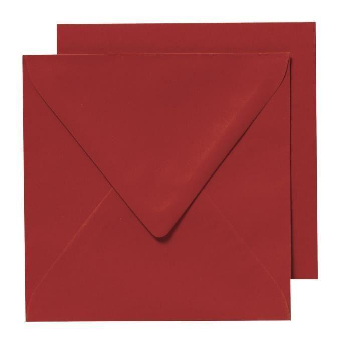 PANDURO 10 Enveloppes Cartes Rouge - Carrées pré-pliées - 155x155 cm