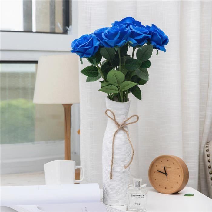 10pcs Fleur Artificielle Rose Bleu Décoration Mariage Fête Maison ...