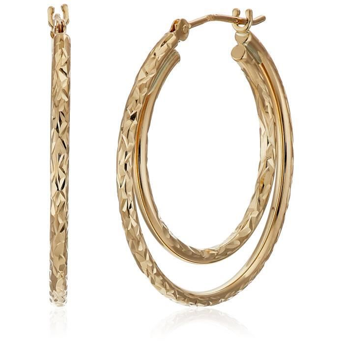 Craze 10k Yellow Gold Double Diamond Cut Hoop Earrings DS74U