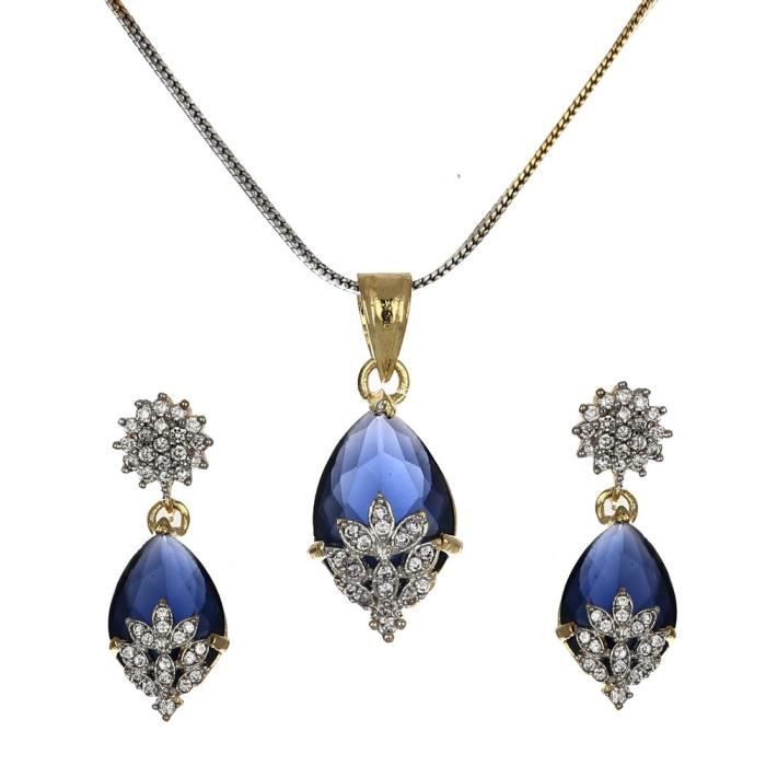 Womens American Diamond Gold Plated Pendant Set With Earring For -PSLH3