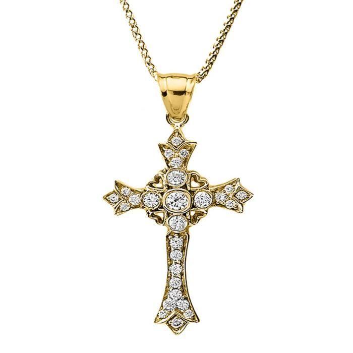 Collier Femme Pendentif 14 Ct Or Jaune Diamant Croix avec Cœurs (Livré avec une 45cm Chaîne)