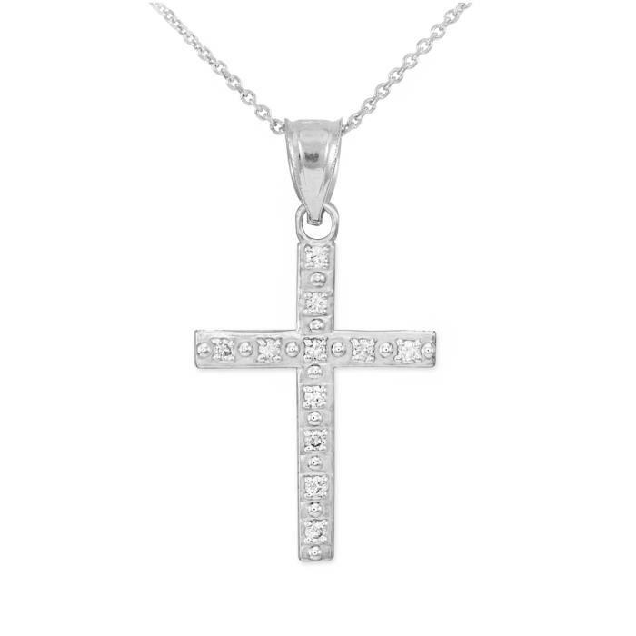 Pendentif 10 ct or471/1000 Blanc Croix Pendentif Avec diamant