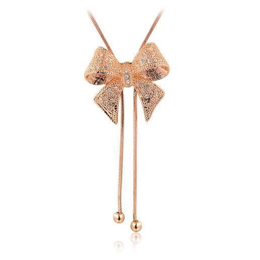 Papillon sautoir de femme plaqué dor rosé