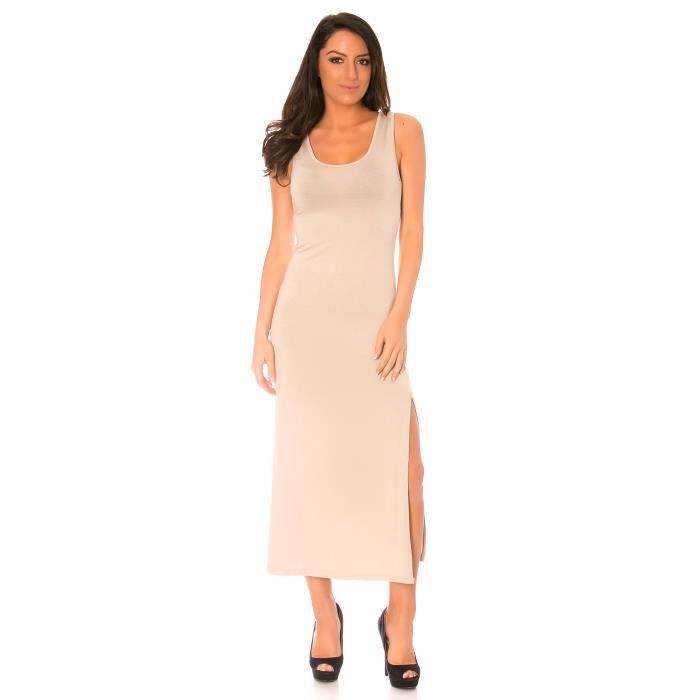 dmarkevous - Longue robe débardeur beige fendu sur le côté, lincontournable classique de lété - (Unique - beige)