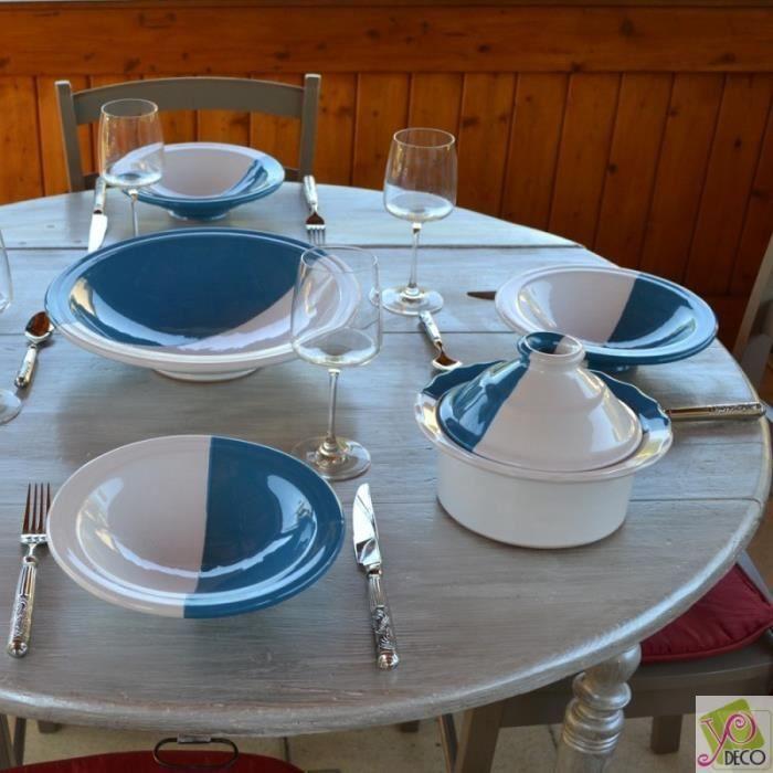 Service a assiette bleue et blanc - Achat / Vente Service a ...