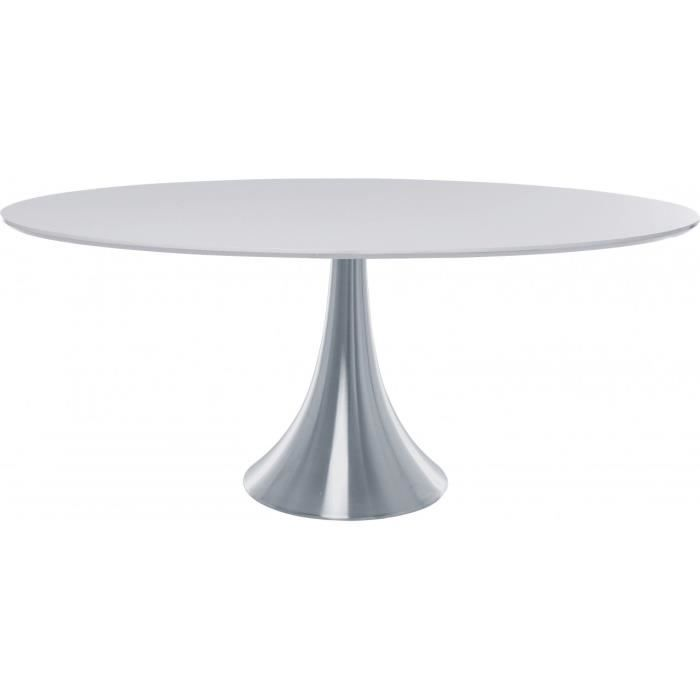 Table design ovale loft alu et mdf blanc 180 x achat for Table tulipe design blanche 90