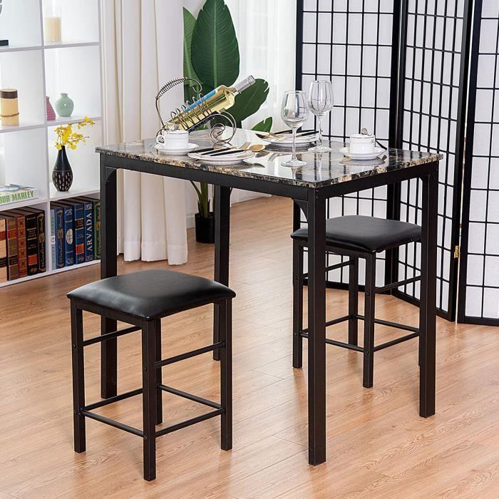 Ensemble Table Et 2 Chaises Pour Cuisine En Mdfeponge 90 X 60 X 82 Cm Capacité De Charge De Chaise 80kg