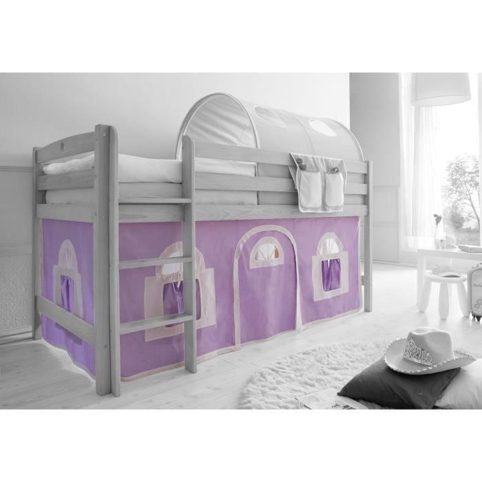 ensemble de 2 rideaux tissus pour lit mezzanine mauve blanc achat vente rideau cdiscount. Black Bedroom Furniture Sets. Home Design Ideas